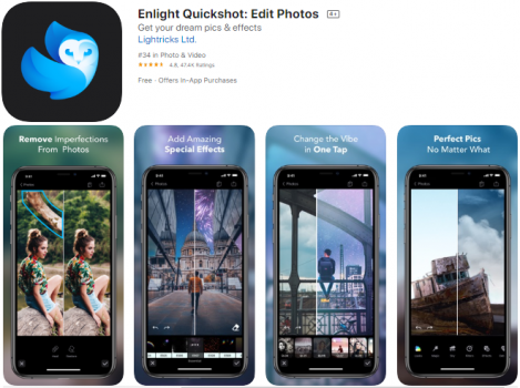 display front page of enlight app with 4 editing tools