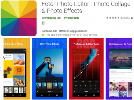 fotor play store showing 4 tools