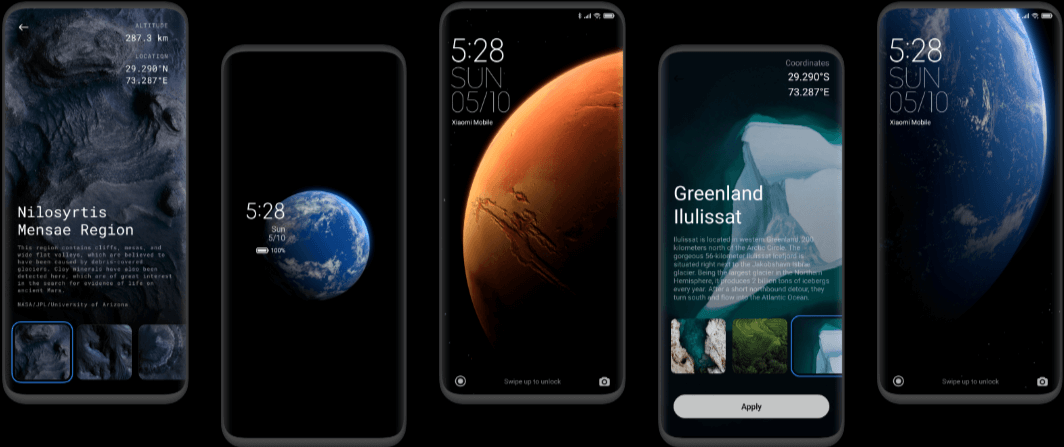 Showing five wallpaper types of MIUI 12