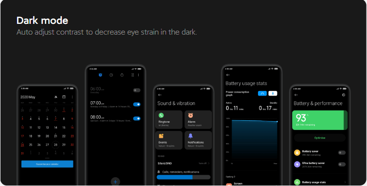 showing dark mode feature in the image