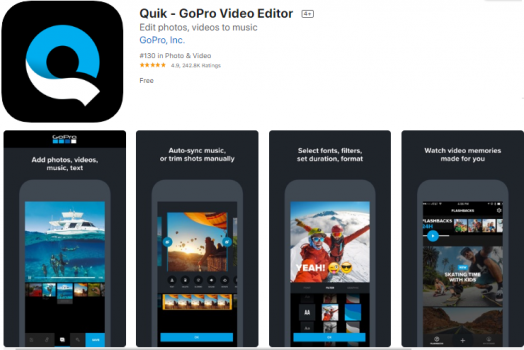 Quik app page showing 4 editing tools