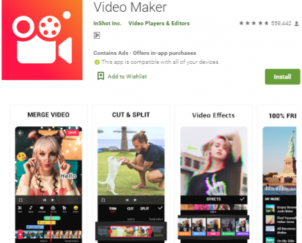 video maker front page showing girl with glasses